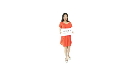 asian girl orange sundress isolated on white with help sign