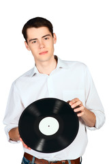 young man dj with vinyl records in the hands isolated on white b