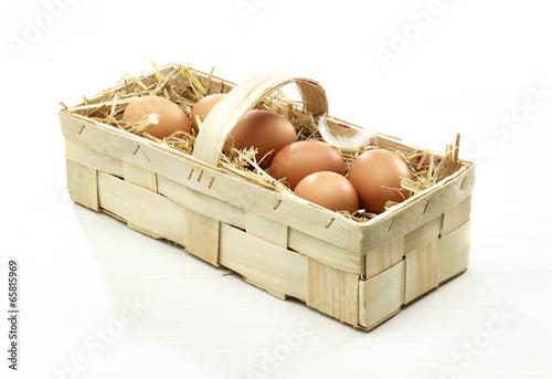 Leinwanddruck Bild Korb mi Eiern