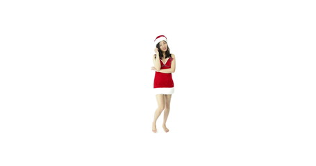 sexy santa claus isolated on white scratching head