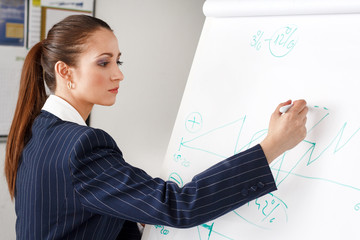 Businesswoman drawing chart