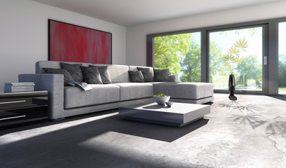 Sofa vor Terassenfenster 1