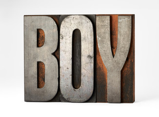 Printers blocks spelling the word - Boy