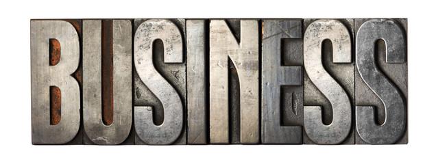 Retro metal typeset spelling - Business