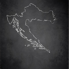 Croatia map blackboard chalkboard vector