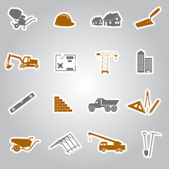 construction stickers set eps10