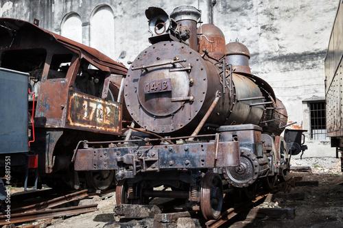 locomotive on background wall