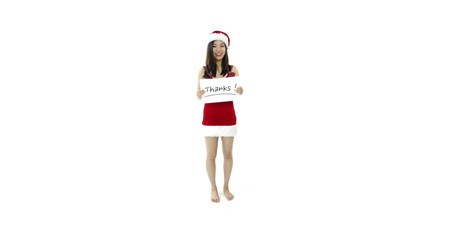 sexy santa claus isolated on white with thanks sign