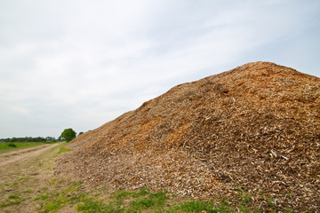 Large heap of woodchips