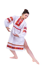 beautiful dancing girl in ukrainian polish national traditional
