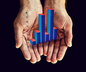 bar chart in hands