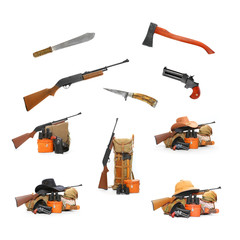 Camping and hunting equipment isolated on a white background.