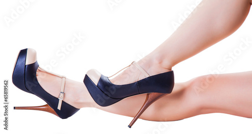 canvas print picture legs in high-heeled shoes