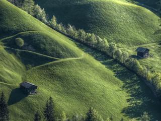 grüner Berghang mit Almhütten in HDR