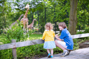 Brother and sister watching giraffes in a zoo