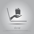 hand hold book from laptop vector icon