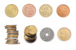 Collection of Coins, European Coins, Isolated