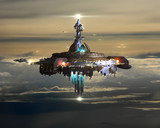 Fototapety Alien Mothership above clouds on Earth
