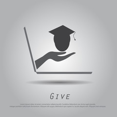 hand hold graduate from laptop vector icon