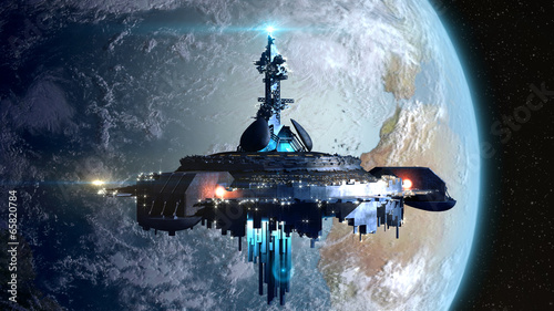 Poster Ruimtelijk Alien mothership near Earth for fantasy backgrounds