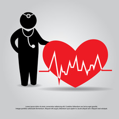 hand hold  doctor and heartbeat  from laptop vector icon