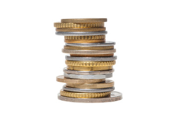 Stack Coins, European Coins, Isolated