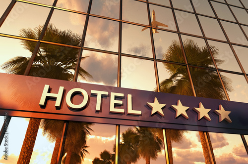 canvas print picture hotel sign with stars