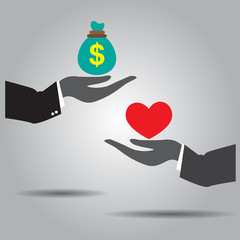 hand exchanging money and heart vector icon.