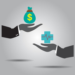 hand exchanging money and  health vector icon
