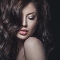 Studio beauty portrait of young woman