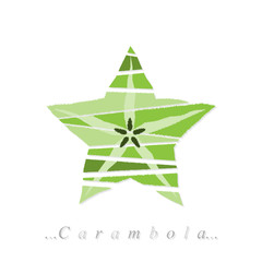 Vector of fruit, carambola icon on isolated white background