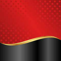 red and black background with stars