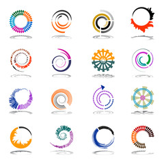 Spiral and rotation design elements. Abstract icons set.