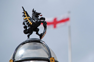 Griffin in front of England Flag - City of London