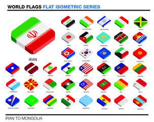 flags of the world, i-p,  3d isometric flat icon design