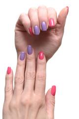 Bright stylish manicure isolated