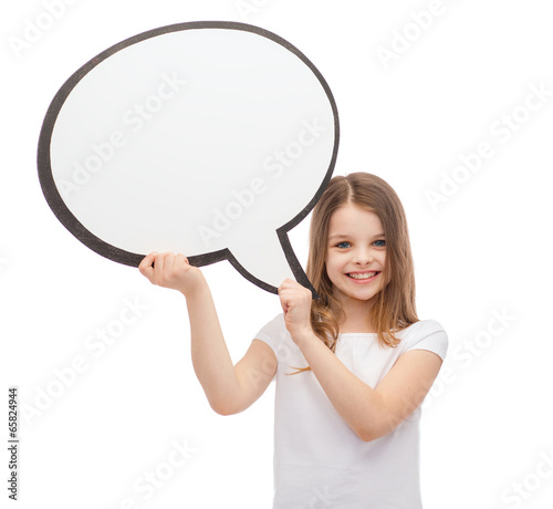 smiling little girl with blank text bubble - 65824944