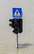 Traffic sign in flood