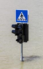 Traffic sign in flood