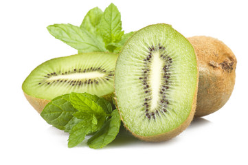 Fresh Kiwi and leaves of mint on the white