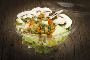 Fresh salad with various vegetable ready take away