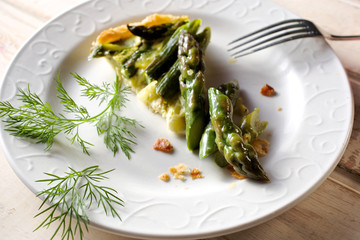 A piece of asparagus quiche