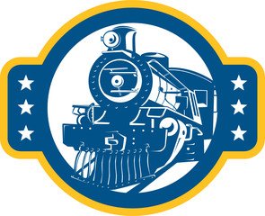Steam Train Locomotive Front Retro