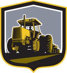 Farmer Driving Vintage Farm Tractor Plowing Retro