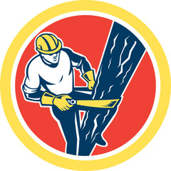 Power Lineman Repairman Harness Climbing Circle