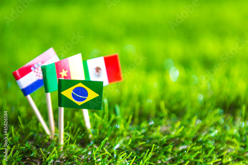 Paper cut of flags on grass for Soccer championship 20 © jannoon028