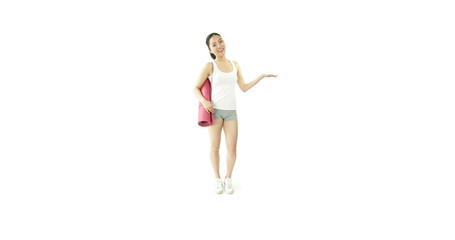 sport girl isolated on white smiling with yoga mat