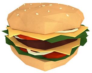 Paper Hamburger Dummy Isolated on White