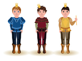 Set cute little prince, vector illustration