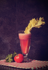 Healthy freshly made tomato and celery vegetable juice